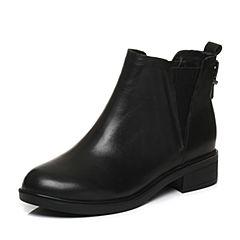 Tata/他她2017冬专柜同款黑色牛皮饰扣切尔西靴女短靴FAX42DD7