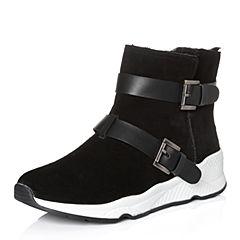 Tata/他她2017冬专柜同款黑色牛剖层坡跟短靴女休闲靴FAJ42DD7