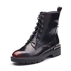 Tata/他她2017冬专柜同款酒红牛皮时尚马丁靴女休闲鞋FN140DD7