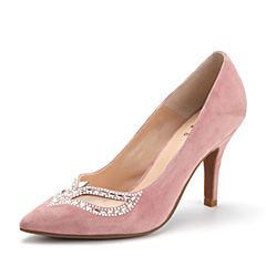 Tata/他她2017秋专柜同款粉/白羊皮网纱水钻高跟浅口女鞋2H5C1CQ7