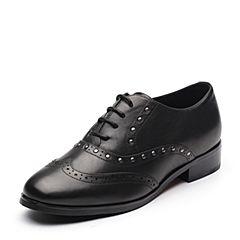 Tata/他她2017秋专柜同款黑色牛皮英伦铆钉绑带女皮鞋FG229CM7