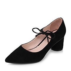 Tata/他她2017秋黑色羊绒皮时尚绑带尖头圆柱跟浅口女鞋16011CQ7