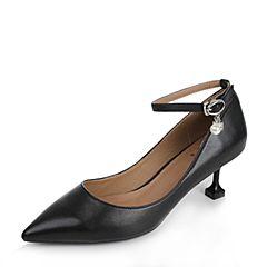 Tata/他她2017秋黑色羊皮复古风一字带珍珠尖头女单鞋TA723CQ7