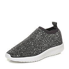 Tata/他她2017秋灰色布面水钻袜子鞋坡跟女休闲鞋F5232CM7
