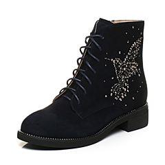 Tata/他她2017冬深兰羊绒皮蜂鸟水钻绑带休闲靴方跟女短靴27451DD7