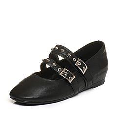 Tata/他她秋黑色牛皮铆钉一字带女玛丽珍鞋浅口女鞋FU701CQ7