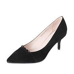 Tata/他她2017秋黑色羊绒皮水钻尖头鞋细高跟浅口女鞋ZK291CQ7