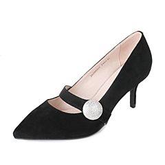 Tata/他她2017秋黑色羊绒皮水钻一字带尖头鞋细高跟女皮鞋ZK298CQ7