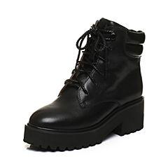 Tata/他她2017冬黑色牛皮时尚绑带马丁靴女休闲靴80795DD7