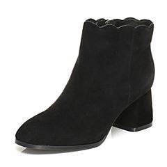 Tata/他她2017冬黑色羊绒皮波浪边及踝靴粗跟女皮靴D0591DD7