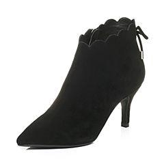 Tata/他她2017冬黑色羊绒皮尖头高跟及踝靴酒杯跟女短靴HL668DD7