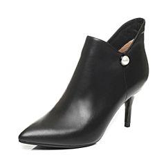 Tata/他她2017冬黑色牛皮珍珠尖头及踝靴高跟女皮靴XH388DD7