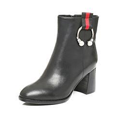 Tata/他她2017冬黑色牛皮珍珠金属环织带粗跟女短靴ZS688DD7