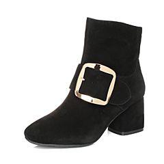 Tata/他她2017冬黑色羊皮绒面金属大方扣粗高跟女短靴ZS612DD7