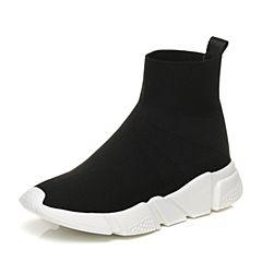 Tata/他她2017秋黑色时尚袜子鞋套脚坡跟休闲女短靴55011CD7