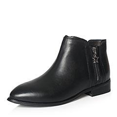 Tata/他她专柜同款黑色牛皮饰扣通勤方跟女短靴FHF41DD7