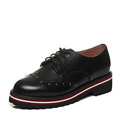 Tata/他她2018春专柜同款黑色牛皮铆钉绑带方跟女休闲鞋2I2M2AM8