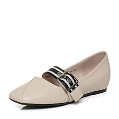 Tata/他她2018春专柜同款米白牛皮条纹饰扣方头女休闲鞋S1032AQ8
