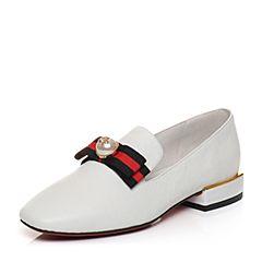 Tata/他她2018春专柜同款白色牛皮蝴蝶结方头乐福鞋女皮鞋S1021AQ8