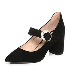 Tata/他她春专柜同款黑色羊皮尖头粗高跟玛丽珍女鞋FB7D8AQ8