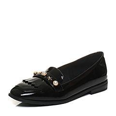 Tata/他她2018春专柜同款黑色漆牛皮流苏饰扣通勤乐福鞋女皮鞋2C505AQ8