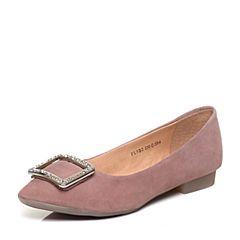 Tata/他她2018春专柜同款粉色羊皮水钻方扣尖头女皮鞋FL9B2AQ8