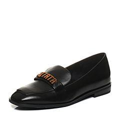Tata/他她2018春专柜同款黑色牛皮饰扣方头乐福鞋女休闲鞋2C506AQ8