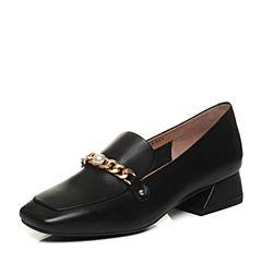 Tata/他她2018春专柜同款黑色牛皮方头粗跟乐福鞋女皮鞋FI005AQ8