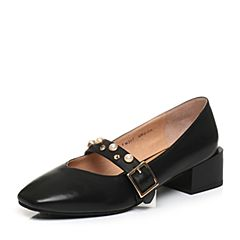 Tata/他她2018春专柜同款黑色牛皮一字带方头粗跟女玛丽珍鞋FM307AQ8