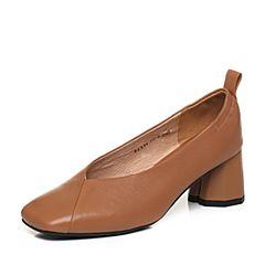 Tata/他她2018春专柜同款棕色牛皮方头粗跟奶奶鞋女皮鞋FFX04AQ8