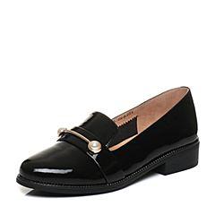 Tata/他她2018春专柜同款黑色漆牛皮珍珠饰扣乐福鞋女皮鞋FAM09AQ8