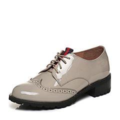Tata/他她2018春专柜同款灰色漆牛皮英伦雕花绑带方跟女皮鞋2L032AM8