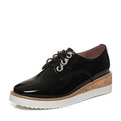 Tata/他她2018春专柜同款黑色漆牛皮绑带坡跟女休闲鞋FF621AM8
