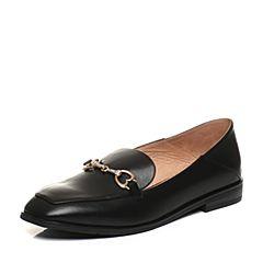 Tata/他她2018春专柜同款黑色牛皮饰扣方头乐福鞋女皮鞋2C502AQ8