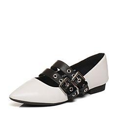 Tata/他她2018春专柜同款白/黑羊皮饰扣尖头方跟女休闲鞋FL9A9AQ8