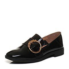 Tata/他她2018春专柜同款黑色漆牛皮圆扣方头乐福鞋女皮鞋FFC06AQ8
