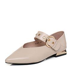 Tata/他她2018春专柜同款杏色羊皮尖头皮带扣女玛丽珍鞋FZT01AQ8