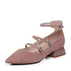 Tata/他她2018春专柜同款粉色羊皮水钻尖头女玛丽珍鞋S1024AQ8