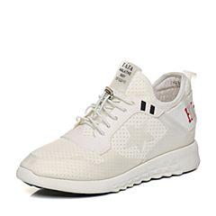 Tata/他她2018春专柜同款白色时尚拼接运动风女休闲鞋S1037AM8