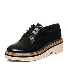 Tata/他她2018春专柜同款黑色牛皮绑带方跟女休闲鞋S1012AM8