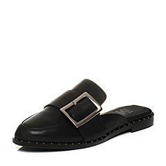 Tata/他她2018春专柜同款黑色牛皮通勤方扣穆勒鞋女皮凉鞋S1017AH8