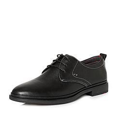 Tata/他她2018春专柜同款黑色牛皮绑带方跟男休闲鞋S1529AM8