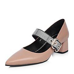 Tata/他她2018春专柜同款浅棕拼接格子尖头粗跟玛丽珍鞋女鞋2NCA8AQ8