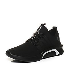 Tata/他她2018春专柜同款黑色拼接运动风厚底男休闲鞋24W20AM8