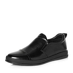 Tata/他她2018春专柜同款黑色牛皮简约平底男休闲鞋S1540AM8