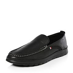 Tata/他她春专柜同款黑色牛皮简约平底男休闲鞋24D24AM8