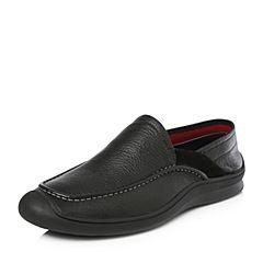 Tata/他她2018春专柜同款黑色牛皮简约平底男休闲鞋S1560AM8
