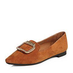 Tata/他她2018春专柜同款棕色羊皮绒面方扣女休闲鞋S1223AQ8