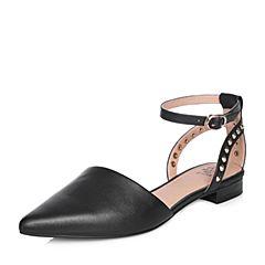 Tata/他她2018春专柜同款黑色牛皮尖头铆钉一字带女皮凉鞋S1233AK8