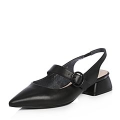Tata/他她2018春专柜同款黑色羊皮尖头一字带粗跟女皮凉鞋S1231AH8